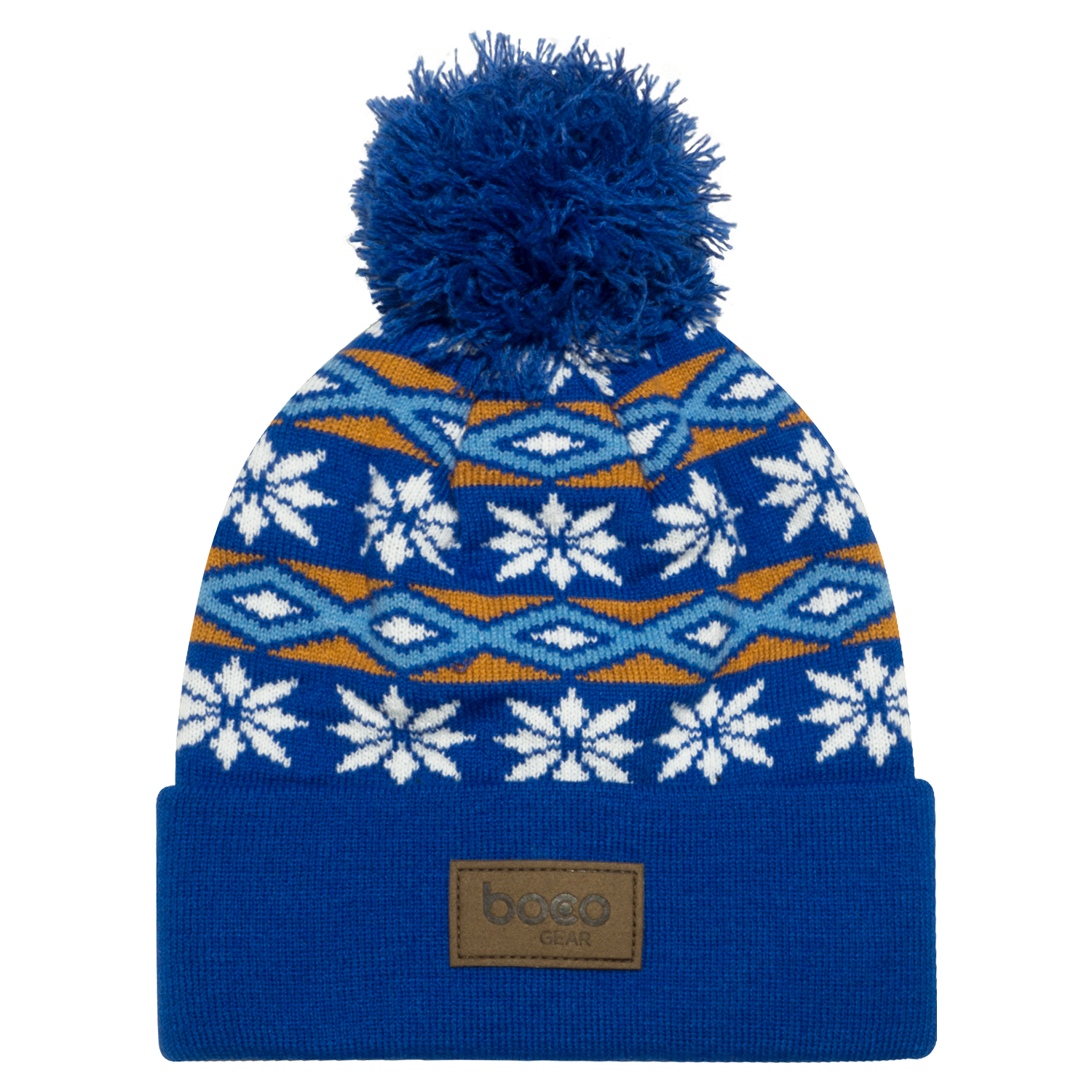 4c4814327f6 Women s Pom Pom Beanie – Blue – Fair Isle – BOCO Gear