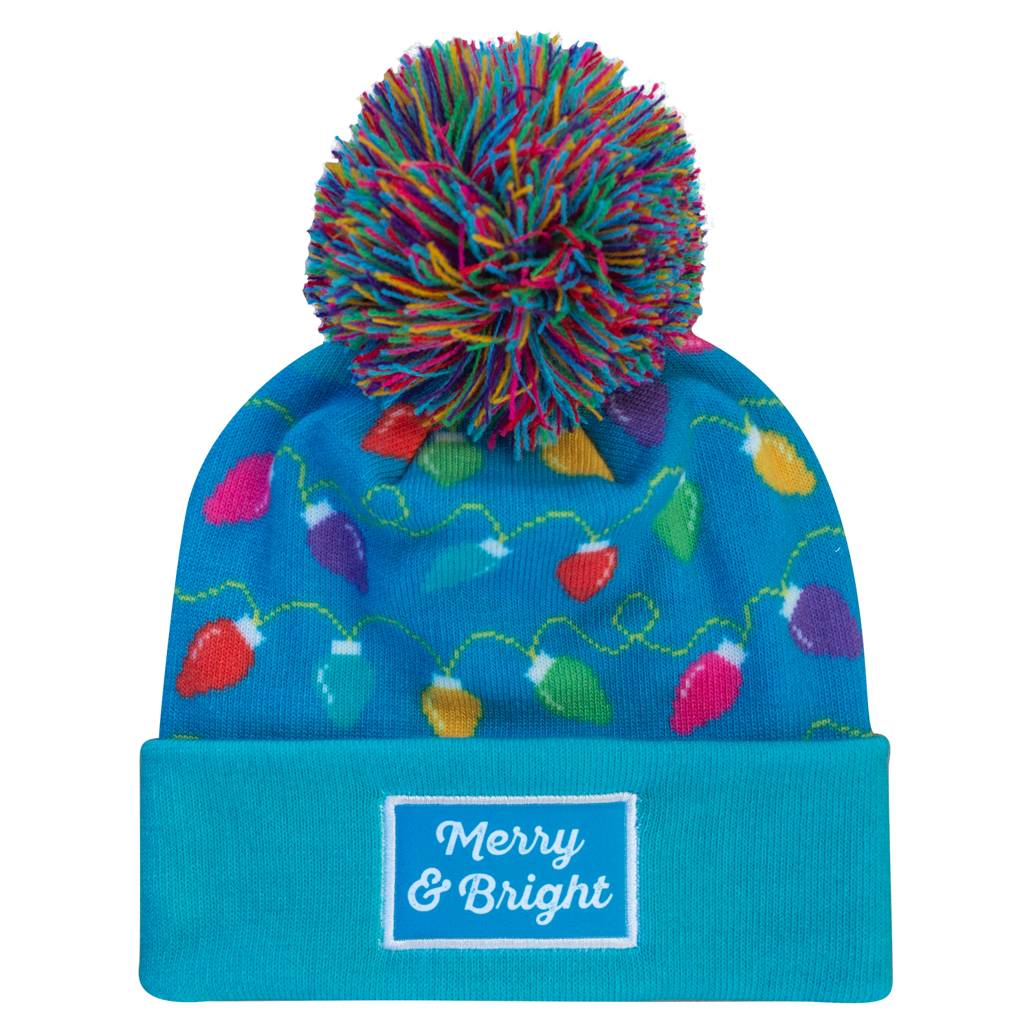 Merry   Bright – Digitally Printed Pom Pom Beanie – BOCO Gear 83940e8155a