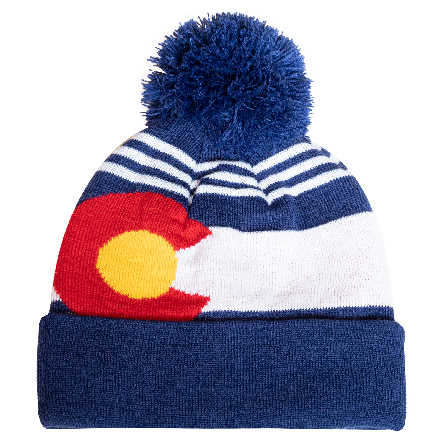 7545a001db6 Pom Pom Beanie – Colorado – Blue with White Stripes – BOCO Gear